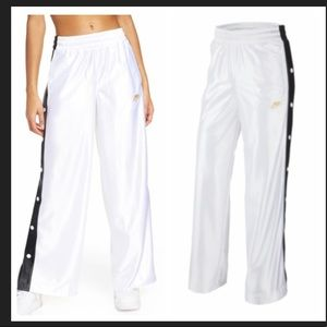Glam Dunk Snap Wide Leg Track Pants In White/black